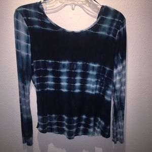 Blue Tie-Dye Long Sleeve Top (With Must See Back!)
